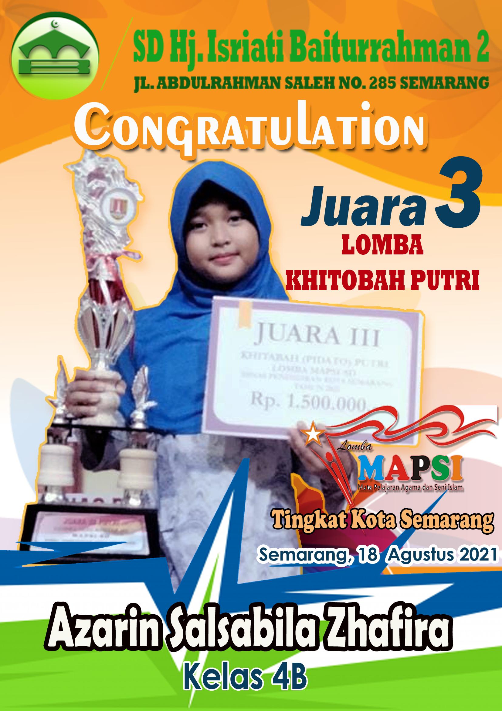 Juara III Lomba Khitobah Putri MAPSI Tk. Kota Semarang