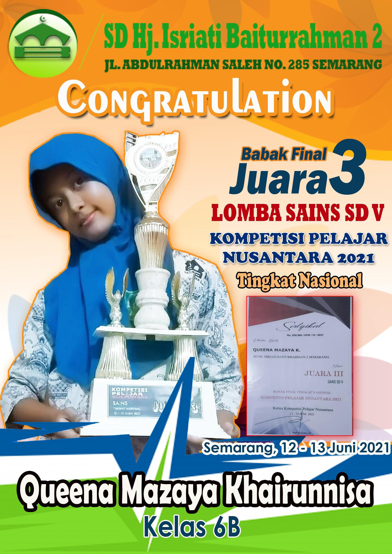 Juara III Final Lomba Sains SD V Kompetisi Pelajar Nusantara Tk. Nasional
