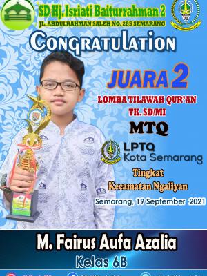 Juara 2 Lomba Tilawah Qur'an MTQ Tk. Kecamatan Ngaliyan